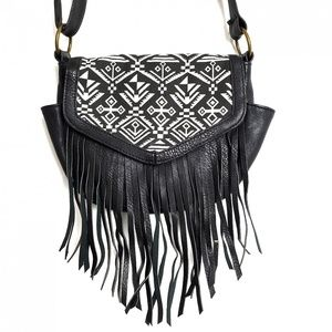 Bongo Crossbody Shoulder Bag Aztec Print Black